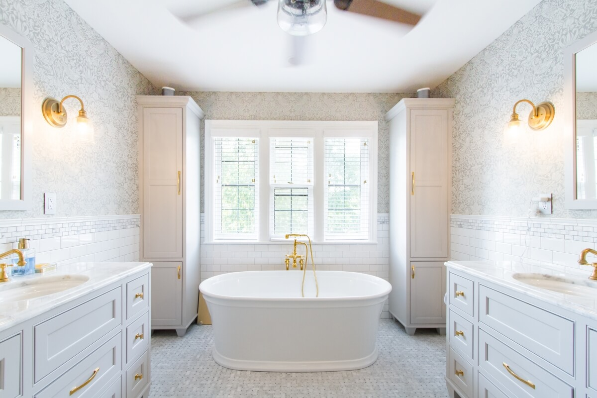 This lovely gold accented bathroom was designed by Theresa Major or North Shore Kitchen and Bath, Wisconsin.