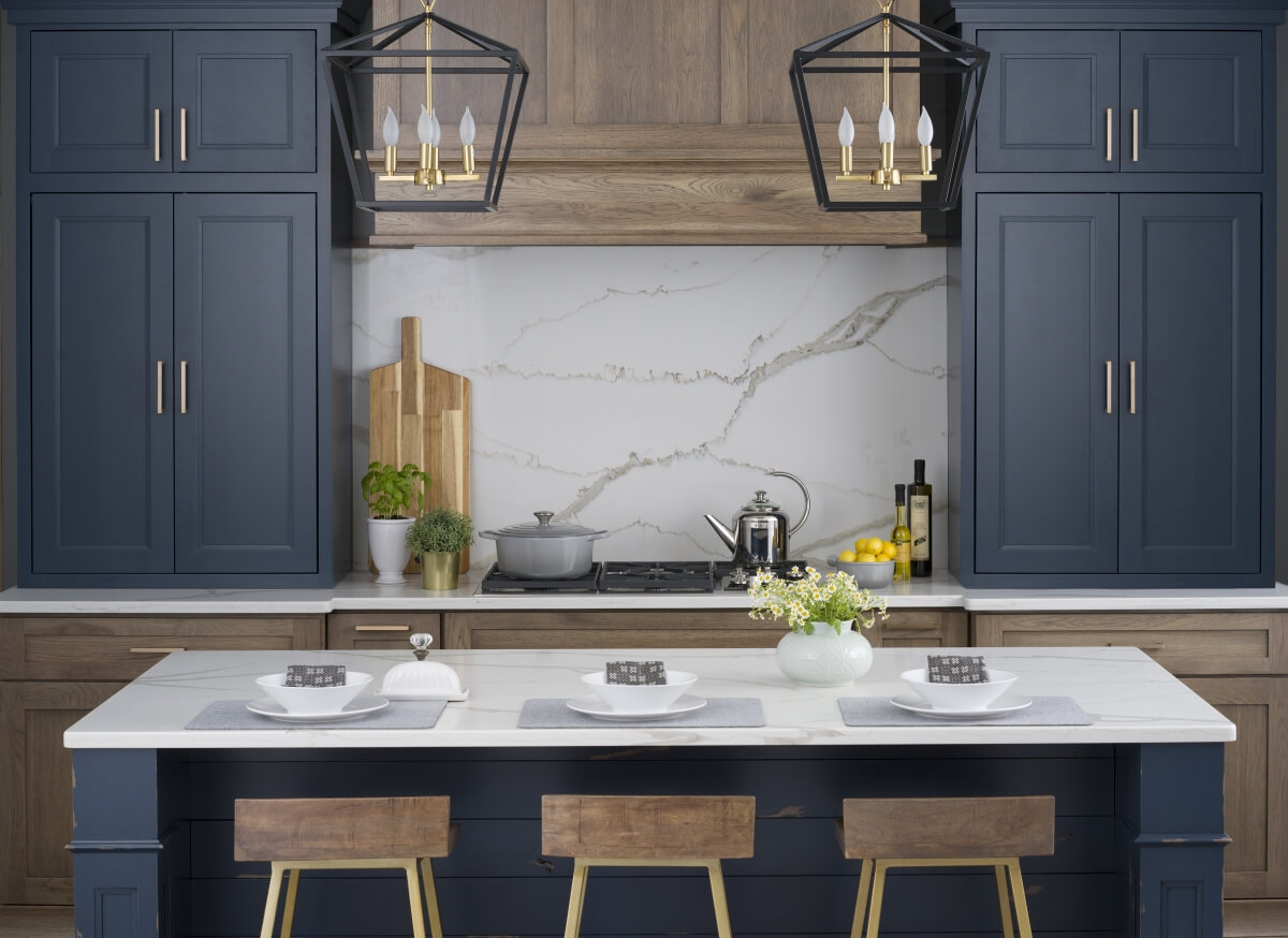 Dura Supreme Cabinetry in Gale Force paint from Curated Color Collection paired with Hickory in a Morel finish